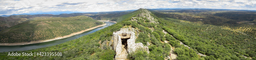 Monfragüe National Park, one of the points of greatest ornithological interest in Spain, Cáceres. .Panoramic from the top of the castle
