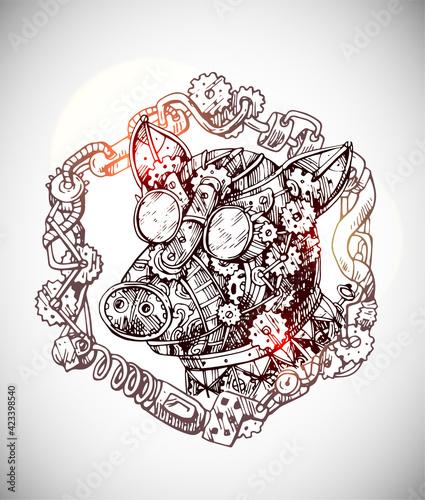 Obraz na płótnie Mechanical pig. Hand drawn vector illustration steampunk style.