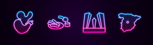 Set Line Spanish Wineskin, Churros And Chocolate, Gate Of Europe And Map Spain. Glowing Neon Icon. Vector