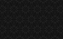 Geometric 3D Convex Volumetric Abstraction. Ethnic Graceful Black Background Of Flowers And Polygons. Embossed Texture.