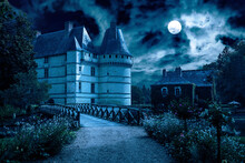 Old Castle At Night, Spooky Mansion In Full Moon For Halloween Theme