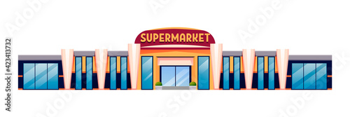 Fototapeta Supermarket horizontal background. Store for grocery shopping vector illustration. Outdoor horizontal panorama of shop with plants, many glass windows, board with text, entrance obraz