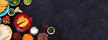 Taco Bar Corner Border With An Assortment Of Ingredients. Top View On A Dark Slate Banner Background. Mexican Food Buffet. Copy Space.