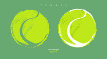 Collection Of Abstract Tennis Balls. Illustrations For Design Banners, Posters, Print For T-shirts.