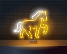 Yellow Horse Neon Sign. Yellow Light Animal On Dark Blue Brick Wall. Night Bright Advertisement. Vector Illustration In Neon Style For Amusement Park And Leisure