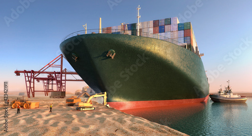 Obraz premium Suez waterway blockage. Effort to refloat wedged container cargo ship. Cargo vessels maritime traffic jam grows in Suez canal. Ever given grounding and stuck in Suez Canal trade artery 3D illustration