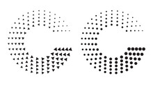 Halftone Dots And Triangles In Circle Form. Round Logo Or Icon Like Letter C. Vector Dotted Frame As Design Element.