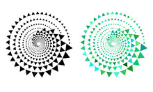 Halftone Triangles In Circle Form. Round Logo Or Icon. Vector Dotted Illustration As Design Element.