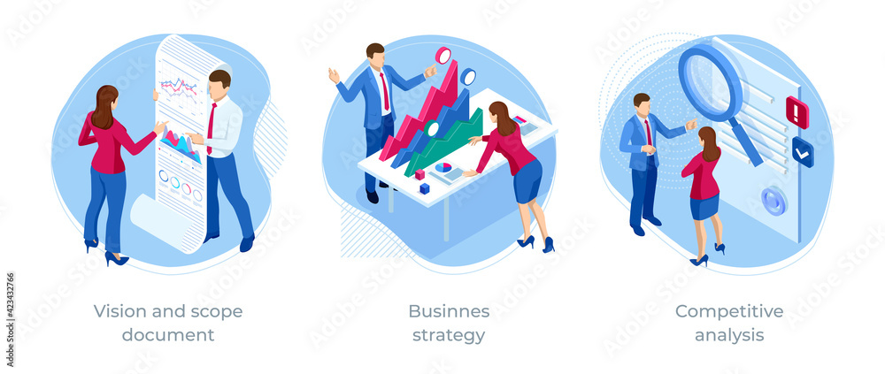 Fototapeta Isometric Competitive analysis, Businnes strategy, Vision and scope document. Expert team for Data Analysis, Business Statistic, Management, Consulting, Marketing.