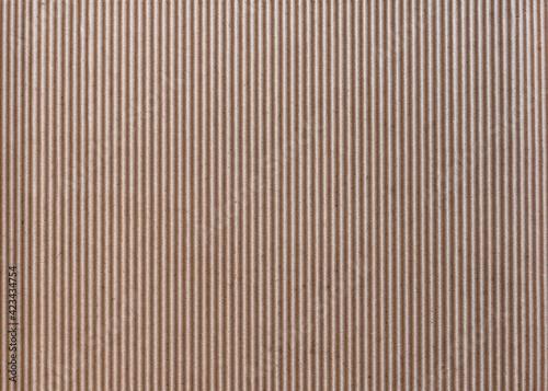 Obraz Texture of vertically corrugated brown cardboard, background. - fototapety do salonu