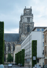 Fernand Rabier Street In Orleans And A Fragment Of The Northern Facade Of The Cathedral Of The Holy Cross