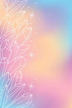 Vector Blurred Pastel Banner With Minimalistic Isolated White Outlines Of Healing Magic Crystals
