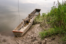 Old Wooden Boat On San River, Poland