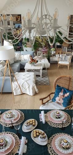 Fototapeta Nowoczesne i eleganckie wnętrze mieszkalne o otwartym planie. obraz