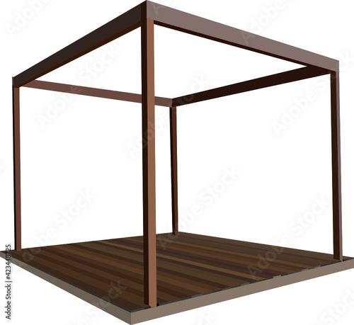 Fototapeta Drewniana szescienna konstrukcja z tarasem obraz