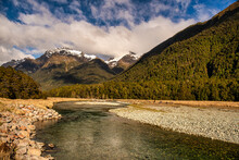 The Eglinton River Meandering Through The Southern Alps In  Fiordland National Park