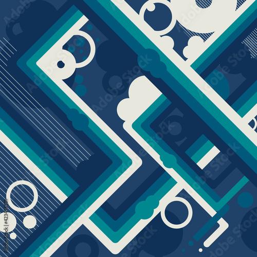 Obraz Współczesne, geometryczne, abstrakcyjne tło, w kolorach niebieskim, zielonym i białym. Futurystyczna kompozycja. - fototapety do salonu