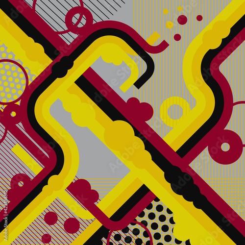 Obraz Współczesne, geometryczne, abstrakcyjne tło, w kolorach żółty, czerwonym i czarnym. Futurystyczna kompozycja. - fototapety do salonu