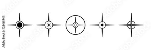 Fototapeta Black north sign vector set. Compass direction symbol.