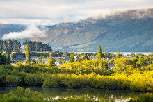 Aerial View Of Glenorchy Lagoon Track With Town Center In The Morning In New Zealand.