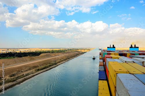 Container ship transiting through Suez Canal.