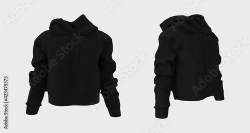 Photo Blank hooded sweatshirt mockup for print, 3d rendering, 3d illustration