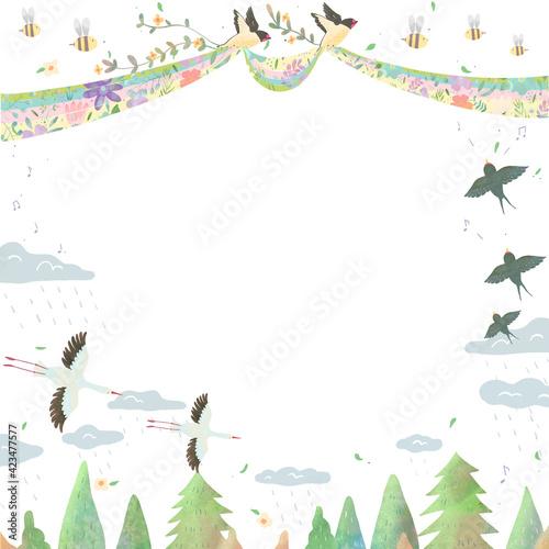 Fototapeta premium 北欧風オシャレな空の風景と鳥たちの白バックの動物フレームイラスト