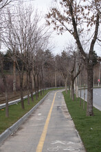 Bicycle Path In The Northern Part Of Bucharest. Bicycle Track Leading To The Pipera Area Of Bucharest