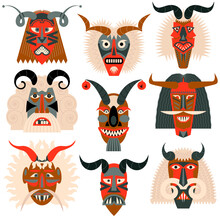 """Busos.Traditional Carved Wood Masks For The Busojaras (Hungarian, Meaning """"Buso-walking"""") Carnival Procession In Mohacs, Hungary."""