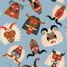 """Busos.Traditional Carved Wood Masks For The Busojaras (Hungarian, Meaning """"Buso-walking"""") Carnival Procession In Mohacs, Hungary. Vector Illustration Seamless Background Pattern. Vector Illustration"""