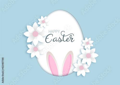 Easter background with flowers and bunny ears
