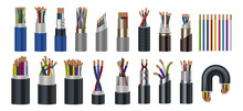 Realistic Wires. Flexible Electric Cables With Different Isolation Types. 3D Coaxial Bundles Of Twisted Colorful Power Cords. Stranded Electrical Conductors With Metal Core, Vector Set