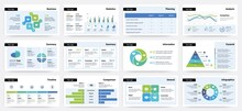 Presentation Slide. Business Project Report Visualization, Pages With Statistic And Analytic Information. Diagrams Or Infographics For Data Comparison. Timeline Flowchart, Vector Set