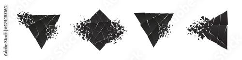 Fototapeta Shape shattered and explodes flat style design vector illustration set isolated on white background