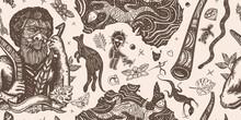Australia Vintage Horizontal Seamless Pattern. Ethnic Australian Aboriginal Tribes Bushmen. Boomerang, Rock Painting, Kangaroo, Map. Retro Old School Tattoo Vector Background