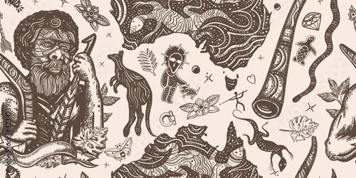 Wallpaper Mural Australia vintage horizontal seamless pattern