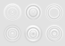 Ripple On White Surface. Dairy Product Circular Waves Top View, Milk Splash From Falling Drop, Round Radial Ripples On Surface Vector Texture