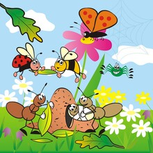 Insect, Cute Banner For Children, Vector Illustration