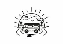 Holiday With Van Badge Illustration