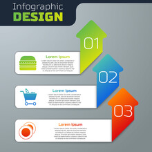 Set Burger, Shopping Cart And Food And Plate. Business Infographic Template. Vector