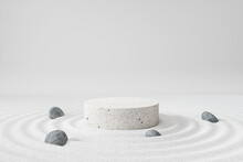Cosmetic Background For Product Presentation, White Stone Podium Display On Zen Circle Pattern In Sand