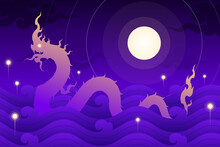 Naga Or Thai Dragon In The River With Fire Ball And Full Moon