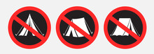 No Camping Set Sign Sticker