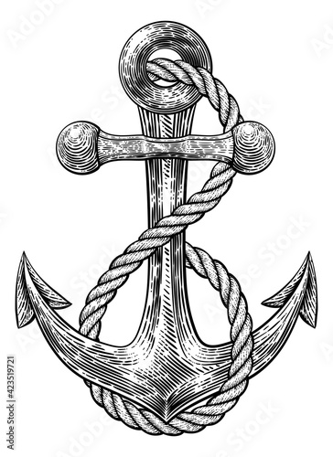 Cuadros en Lienzo Anchor from Boat or Ship Tattoo Drawing
