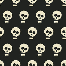 Funny Scull Pattern. Black Background And Funny Sculls Pattern. Vector.