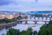 View On Vltava River With Bridges At Dusk In Prague In Czech Republic