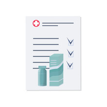 Medical Bill, Doctor's Prescription, Or Checklist. The Pharmaceutical Document Is Marked With Check Marks. Dscription Of Medicines And Dosage Of Taking Tablets And Pills. Vector