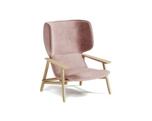 3d Rendering Of An Isolated Modern Dusty Pink Mid Century Cosy Lounge Wingback Armchair