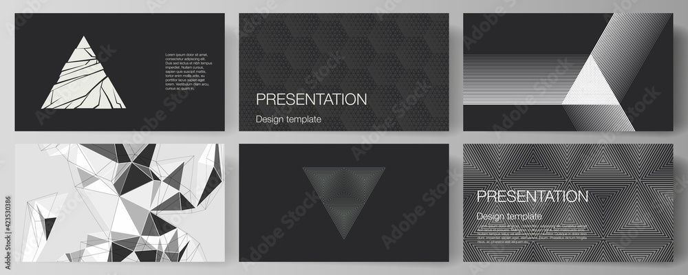 Fototapeta The minimalistic abstract vector illustration layout of the presentation slides design business templates. Abstract geometric triangle design background using different triangular style patterns.