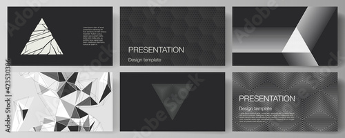 Obraz The minimalistic abstract vector illustration layout of the presentation slides design business templates. Abstract geometric triangle design background using different triangular style patterns. - fototapety do salonu